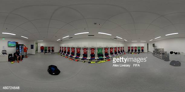 General view of the USA dressing room before the 2014 FIFA World Cup Brazil Group G match between Ghana v USA at Estadio das Dunas on June 16, 2014...