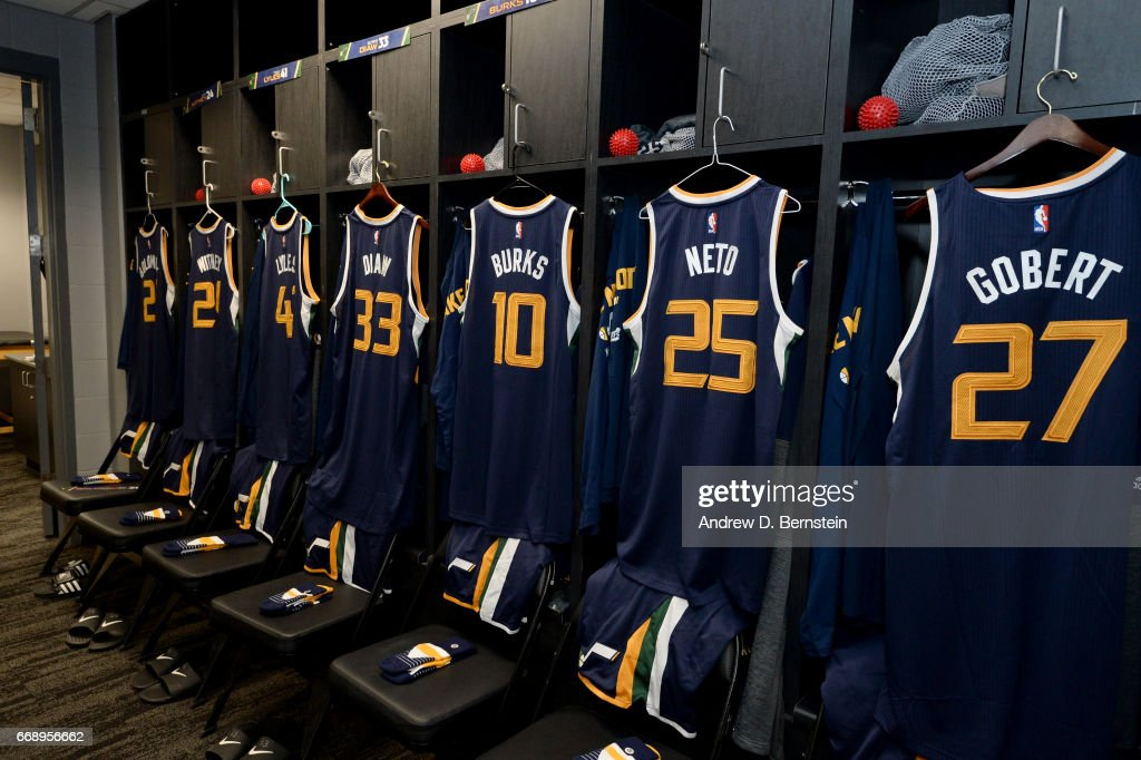A general view of the Utah Jazz locker room before the game against the Los Angeles Clippers in Game One of Round One during the 2017 NBA Playoffs on April 15, 2017 at STAPLES Center in Los Angeles, California.