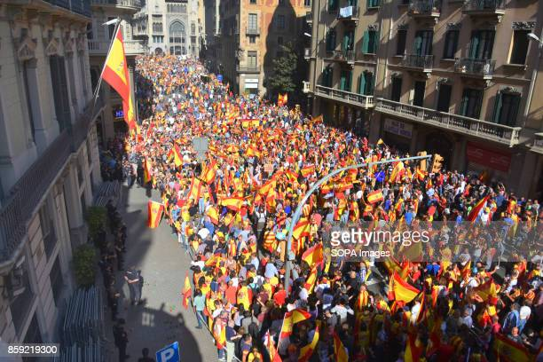 General view of the Vía Laietana street full of protesters during the demonstration by the unit of Spain Thousands of people protested on Sunday in...