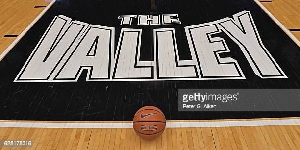 A general view of the Valley Conference logo on the floor prior to a game between the Wichita State Shockers and the St Louis Billikens on December 6...