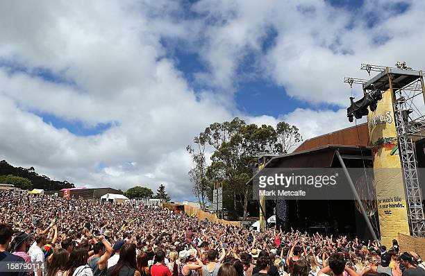 A general view of The Valley Stage at The Falls Music and Arts Festival on December 29 2012 in Lorne Australia