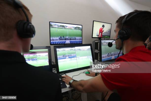 General view of the VAR hall during the FIFA Referee Seminar Media Day at Coverciano on April 18 2018 in Florence Italy