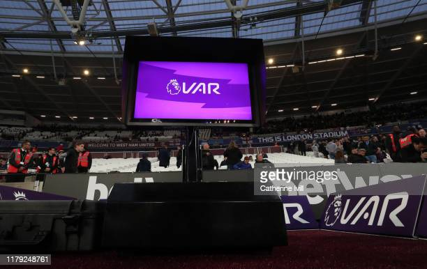 General view of the VAR screen during the Premier League match between West Ham United and Crystal Palace at London Stadium on October 05, 2019 in...