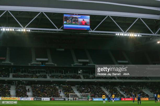 General view of the VAR system in use during the international friendly match between Brazil and Japan at Stade PierreMauroy on November 10 2017 in...