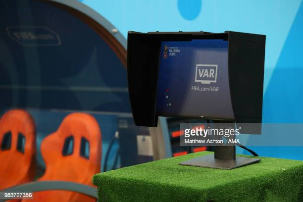 General View of the VAR Video Assistant Referee screen by the side of the pitch prior to the 2018 FIFA World Cup Russia group B match between Iran...