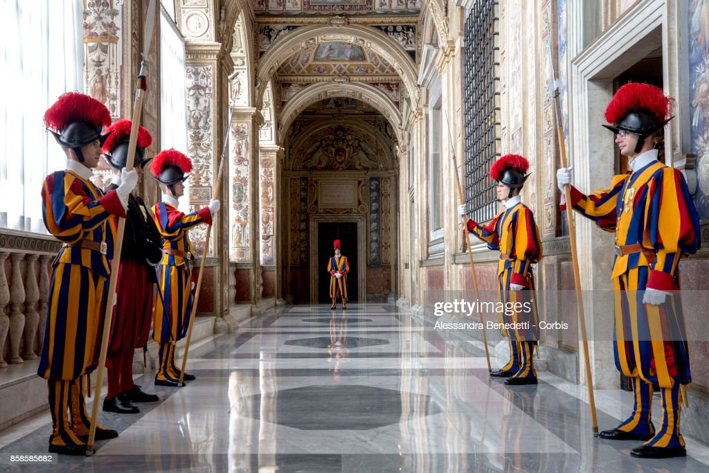 General view of the Vatican Apostolic Palace with swiss guards, prior the meeting between the Prime Minister of Croatia Andrej Plenkovic and Pope Francis on October 7, 2017 in Vatican City, Vatican. The Croatian Prime Minister was accompanied by his wife Ana Maslac Plenkovic and their two children.