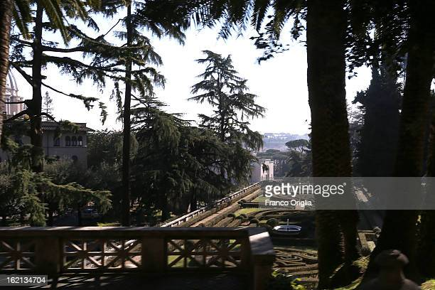 A general view of the Vatican Gardens on February 19 2013 in Vatican City Vatican When Pope Benedict XVI steps down on February 28 2013 after almost...