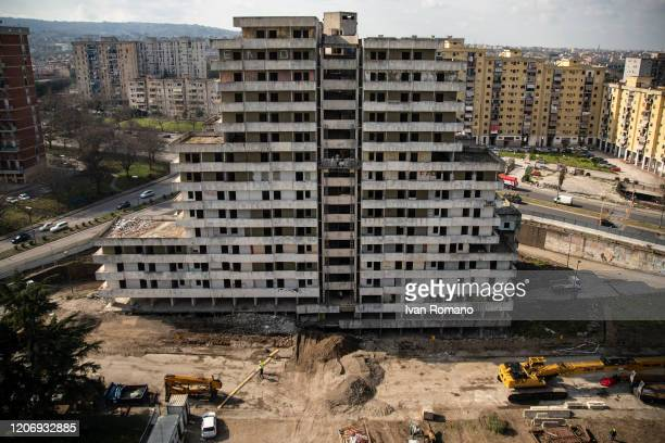 General view of the Vela demolition site on February 17 2020 in Naples Italy The Municipality of Naples has announced that starting from February 20...