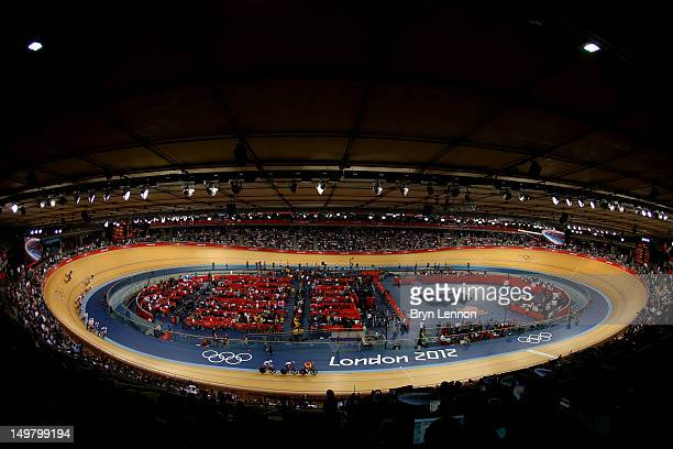 General view of the velodrome during the Men's Omnium Track Cycling 30km Points Race on Day 8 of the London 2012 Olympic Games at Velodrome on August...