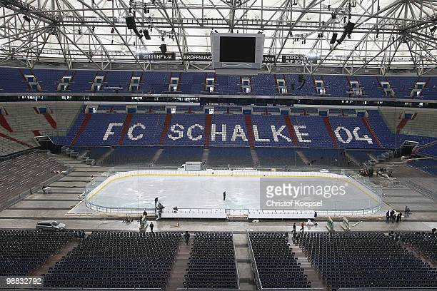 A general view of the Veltins Arena ahead of the IIHF World Championship on May 4 2010 in Gelsenkirchen Germany The Veltins Arena home to Bundesliga...