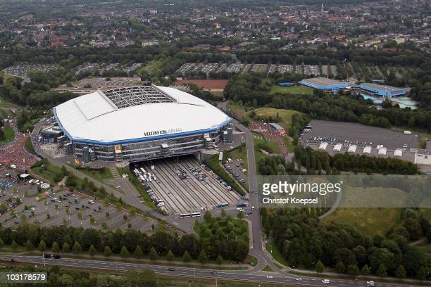 General view of the Veltins Arena during the FC Schalke 04 season opening around the Veltins Arena on July 31, 2010 in Gelsenkirchen, Germany.