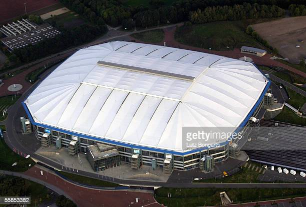 General view of the Veltins Arena is seen on October 2, 2005 in Gelsenkirchen, Germany. The Veltins Arena is one of the host Stadiums that will be...