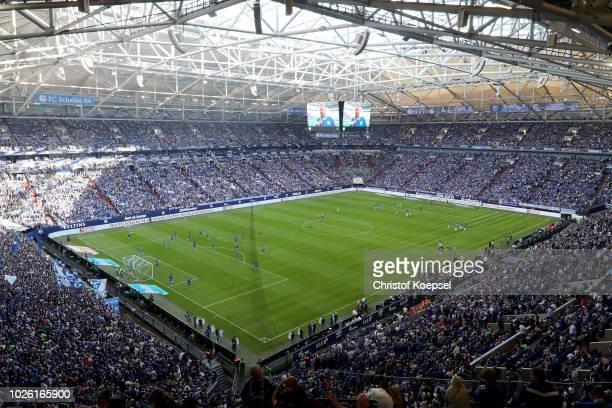 General view of the Veltins Arena prior to the Bundesliga match between FC Schalke 04 and Hertha BSC at Veltins-Arena on September 2, 2018 in...