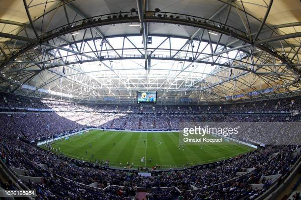 General view of the Veltins Arena prior to the Bundesliga match between FC Schalke 04 and Hertha BSC at VeltinsArena on September 2 2018 in...