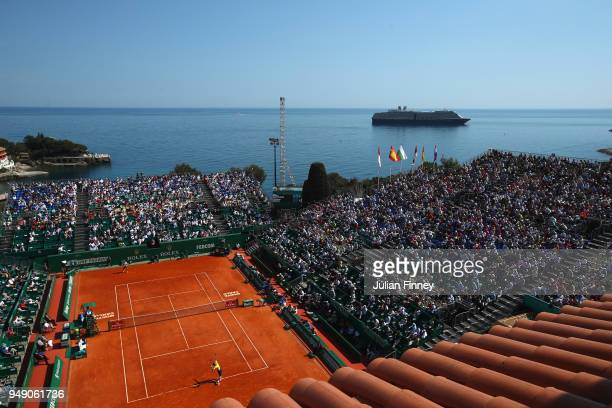 General view of the venue as Kei Nishikori of Japan play Marin Cilic of Croatia during day six of ATP Masters Series Monte Carlo Rolex Masters at...