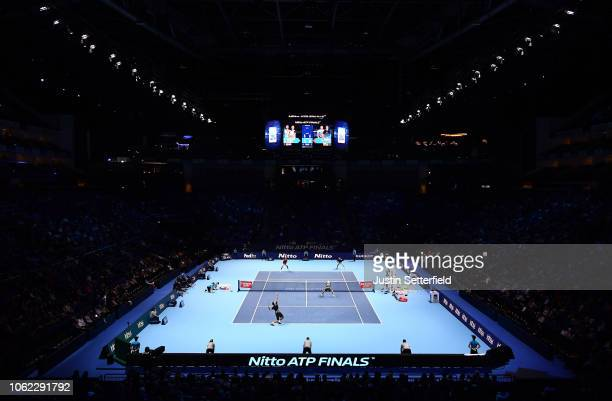 A general view of the venue as the round robin match between Oliver Marach of Austria Mate Pavic of Croatia Marcelo Melo of Brazil and Lukasz Kubot...