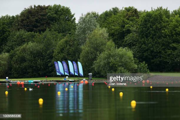 A general view of the venue during the Rowing on Day one of the European Championships Glasgow 2018 at Strathclyde Country Park on August 2 2018 in...