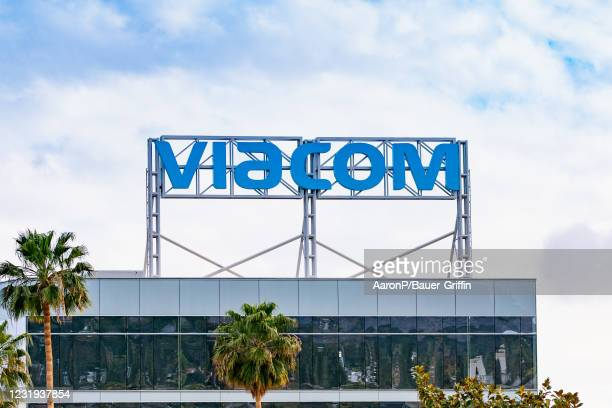 General view of the Viacom West Coast headquarters sign in Hollywood at Columbia Square on March 25, 2021 in Hollywood, California.