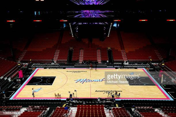 A general view of the Vice Nights floor prior to the game between the Miami Heat and the Indiana Pacers at American Airlines Arena on November 9 2018...