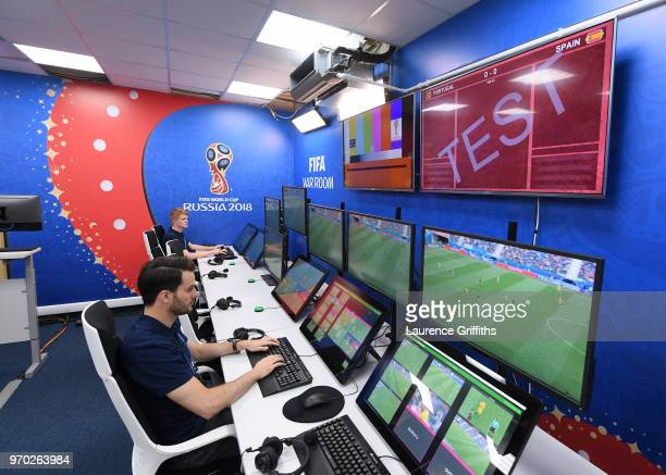 A general view of the Video Assistant Referee's Room home of the VAR system to be used at all FIFA World Cup matches during the Official Opening of...