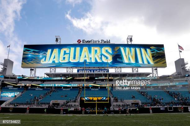 A general view of the video board after the game with the Jacksonville Jaguars and the Cincinnati Bengals at EverBank Field on November 5 2017 in...