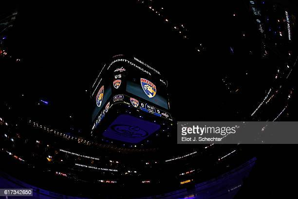 A general view of the video cube and scoreboard prior to the start of the Florida Panthers hosting the Washington Capitals at the BBT Center on...