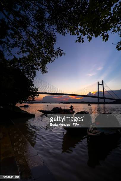 A general view of the Vidyasagar Setu bridge over the Hooghly River ahead of the FIFA U17 World Cup India 2017 tournament on October 10 2017 in...