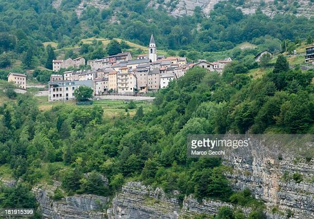 A general view of the village of Casso which was partially destroyed by the landslide on September 26 2013 in Longarone Italy The Vajont Dam tragedy...
