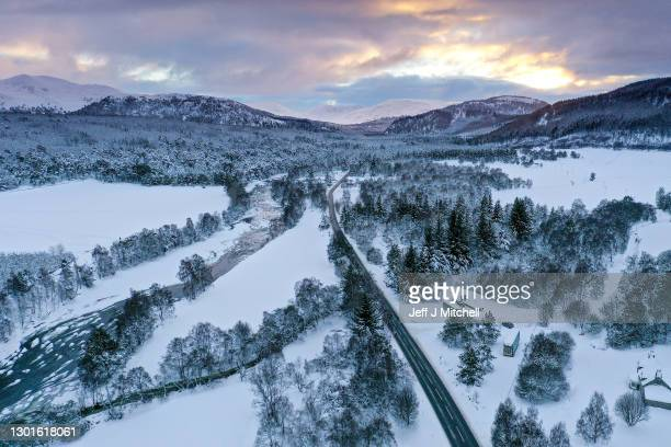 General view of the village of the A93 and the river Dee towards Braemar in the snow on February 11, 2021 in Braemar, Scotland. A low of -22.9C was...