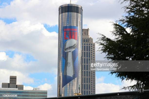 General View of the Vince Lmbardi Trophy and the Super BowlLIII logo on the Westin Hotel during Super Bowl LIII week on January 28 2019 in Atlanta GA