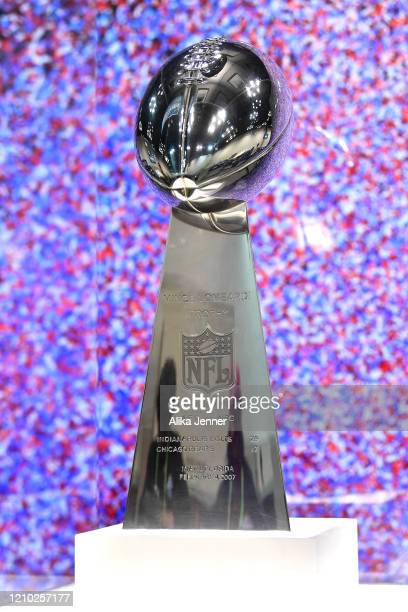 General view of the Vince Lombardi Trophy during the second day of the 2020 NFL Scouting Combine at Lucas Oil Stadium on February 26, 2020 in...