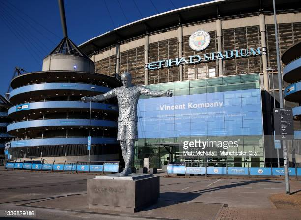 General view of the Vincent Kompany statue outside the Etihad Stadium prior to the Premier League match between Manchester City and Arsenal at Etihad...