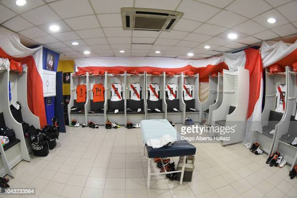 General view of the visitor's dressing room prior to a match between Boca Juniors and River Plate as part of Superliga 2018/19 at Estadio Alberto J...