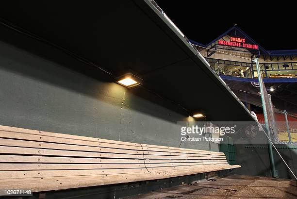 General view of the visitor's dugout at Rosenblatt Stadium following game 2 of the men's 2010 NCAA College Baseball World Series between the UCLA...