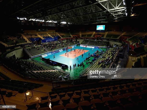 General view of the Volleyball Gymnasium during the Indoor Volleyball Mens semi-final match between Maldives and Turkmenistan during day eleven of...