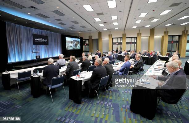 A general view of the voting panel during the NACAR Hall of Fame Voting Day at NASCAR Hall of Fame on May 23 2018 in Charlotte North Carolina