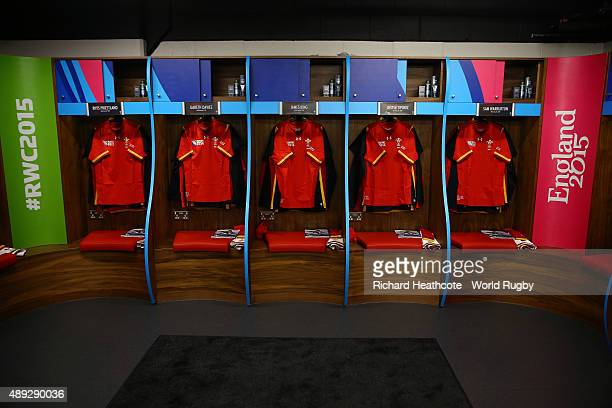 A general view of the Wales dressing room prior to the 2015 Rugby World Cup Pool A match between Wales and Uruguay at the Millennium Stadium on...