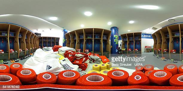 A general view of the Wales dressing room prior to the UEFA EURO 2016 Group B match between Russia and Wales at Stadium Municipal on June 20 2016 in...