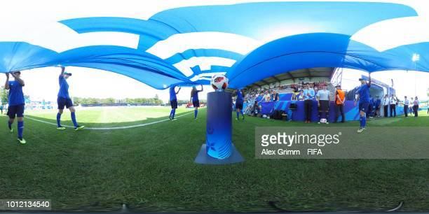 A general view of the walk in of Paraguay and Spain ahead of their FIFA U20 Women's World Cup France 2018 group C match between Paraguay and Spain at...