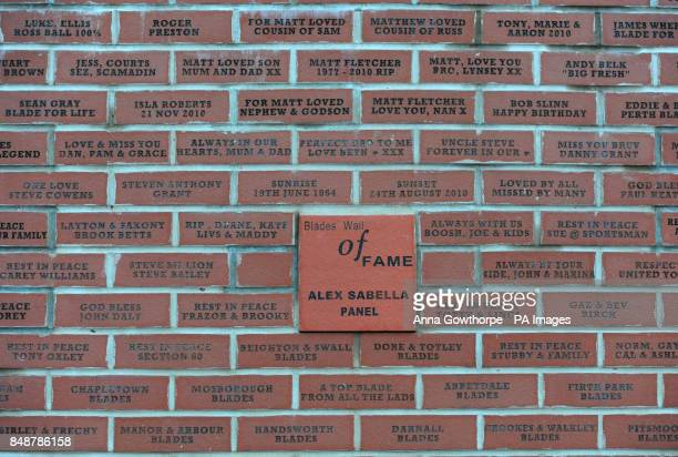 A general view of the wall of fame at Bramall Lane Sheffield