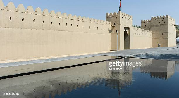 A general view of the wall of Qasr Al Muwaiji Fort the birth place and the residence of the late Sheikh Zayed bin Sultan Al Nahyan Father of the...