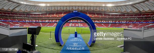 General view of the Wanda Metropolitano stadium during the UEFA Champions League Round of 16 First Leg match between Club Atletico de Madrid and...