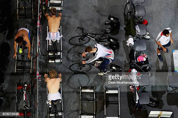 A general view of the warm up area occupied by Team GB during the Tissot UCI Track Cycling World Cup 20162017 held at the sport centre Omnisport on...
