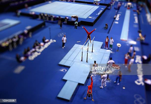 A general view of the warm up during the Mens Artistic Gymnastics Qualification on day two of the Youth Olympics at the Bishan Sports Hall on August...