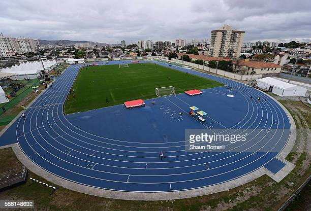 A general view of the warm up track at Olympic Stadium on August 10 2016 in Rio de Janeiro Brazil