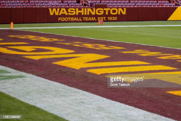 General view of the Washington Football Team logo on the stadium before the game between the Washington Football Team and the Dallas Cowboys at...