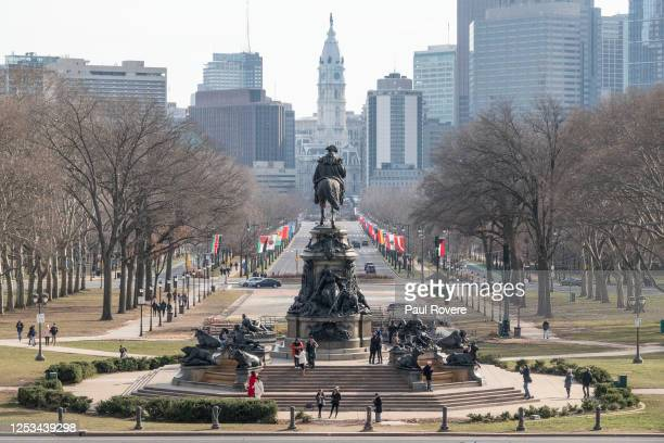 General view of the Washington Monument at Eakins Oval on Benjamin Franklin Parkway from the steps of the Philadelphia Museum of Art on December 25...