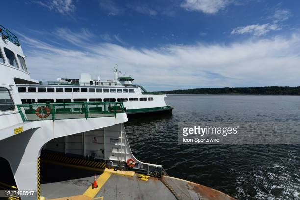 General view of the Washington state ferry Chimicum as it sits idle. State ferry service is running on a limited schedule due to the Coronavirus...