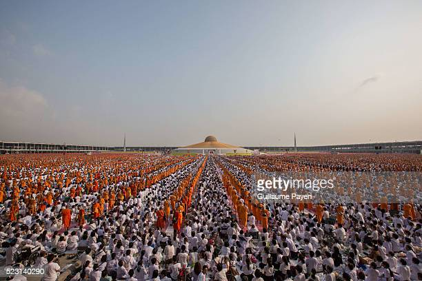 A general view of the Wat Dhammakaya Temple as over 100000 buddhist monks and novices gather at Wat Dhammakaya Temple before the AlmOffering Ceremony...