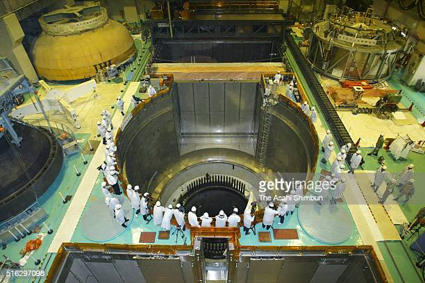 General view of the water injection test of the No.5 reactor of the Hamaoka Nuclear Power Plant on August 8, 2003 in Hamaoka, Shizuoka, Japan.
